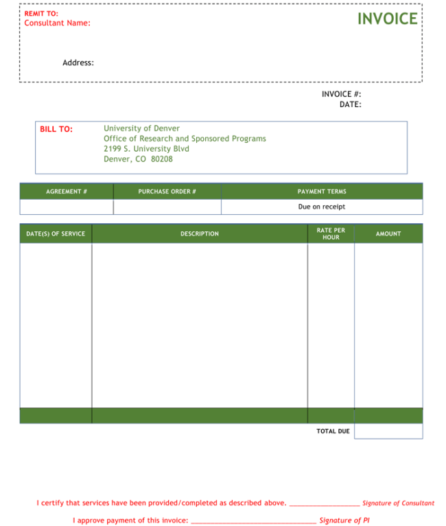 Consultant Invoice Template Sample
