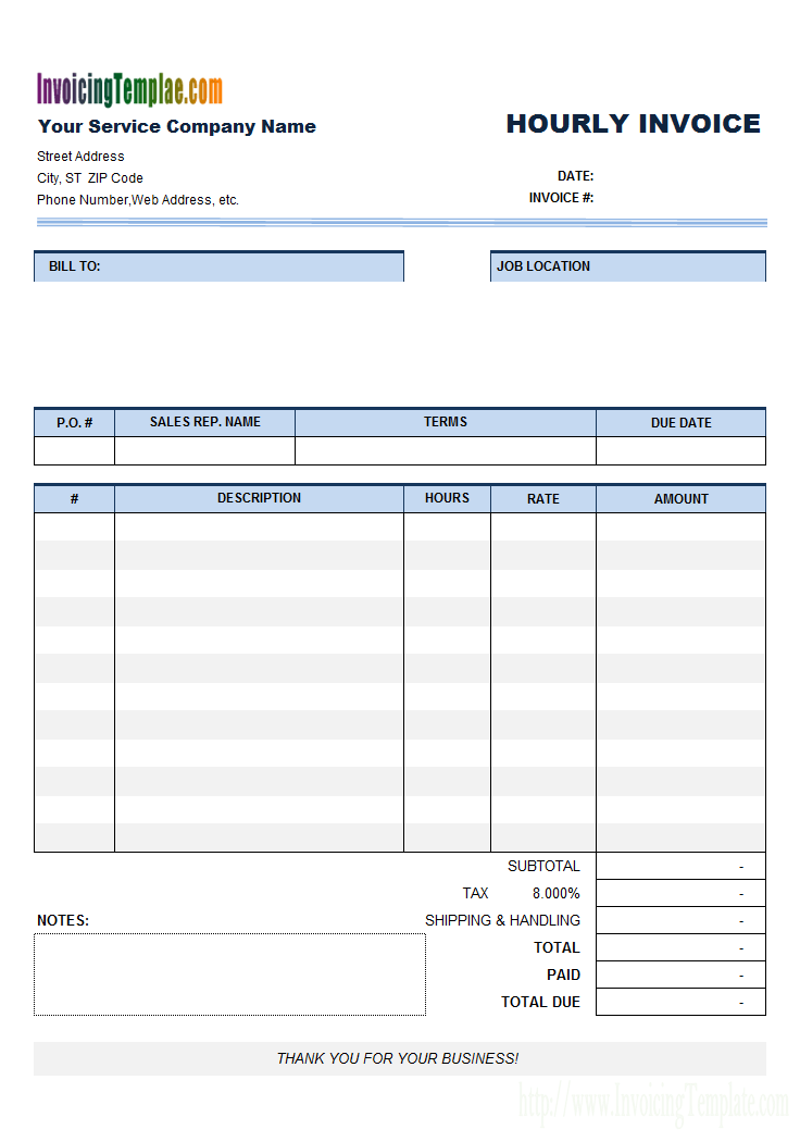 Hourly Invoice Template Sample