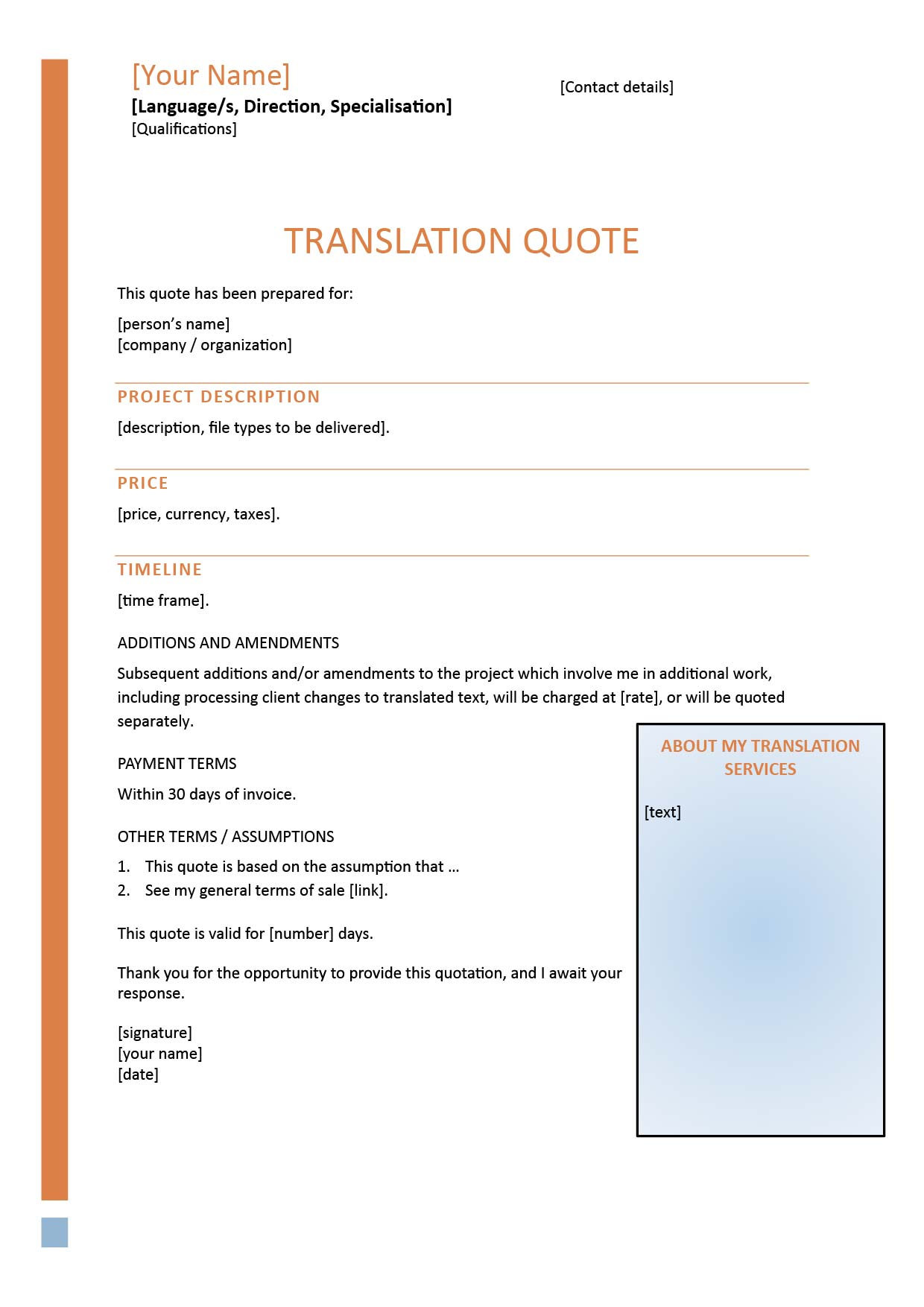Translation Proposal Template Sample