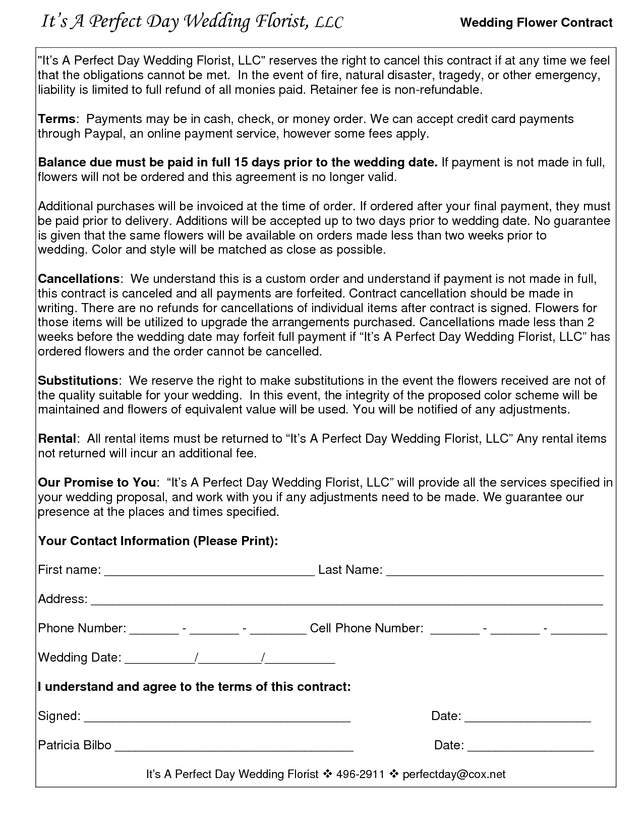 Florist Contract Template