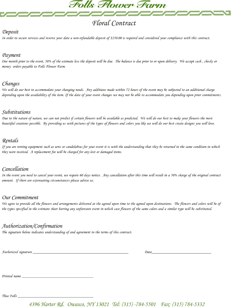 Florist Contract Template Sample