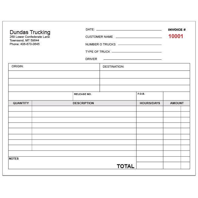 Trucking Invoice Template Sample