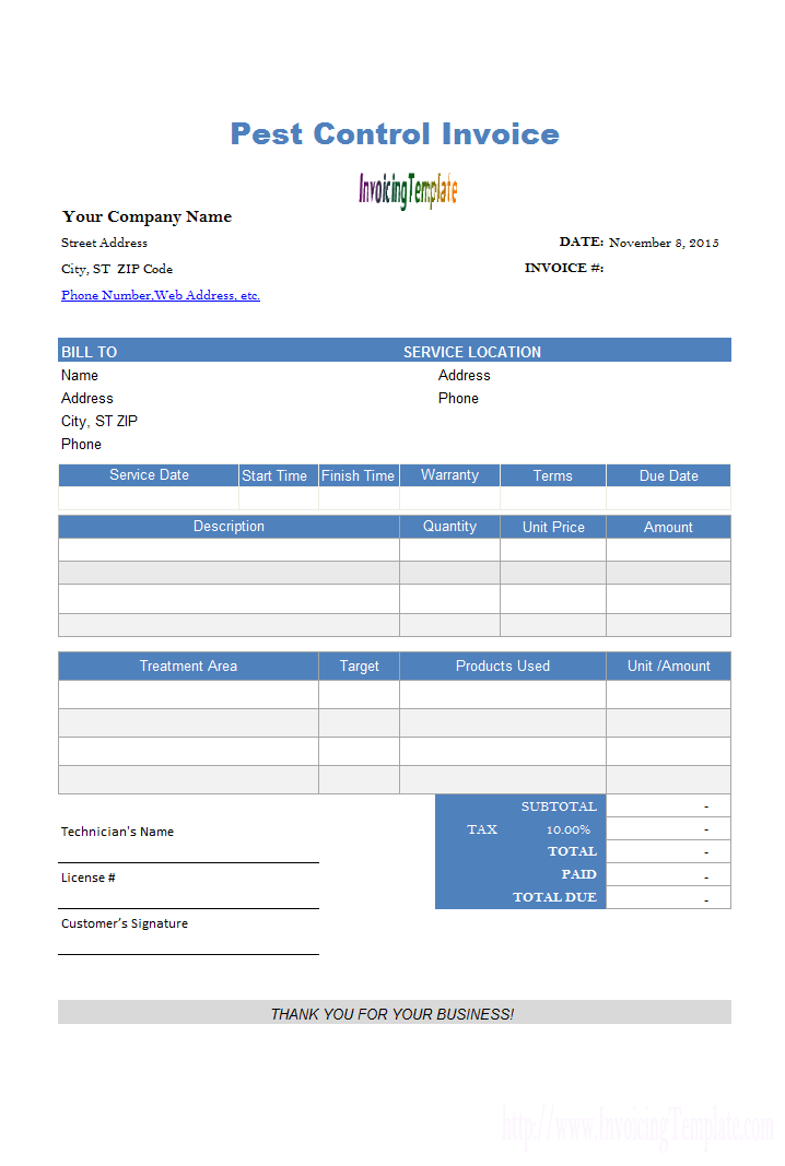 Pest Control Invoice Template Sample