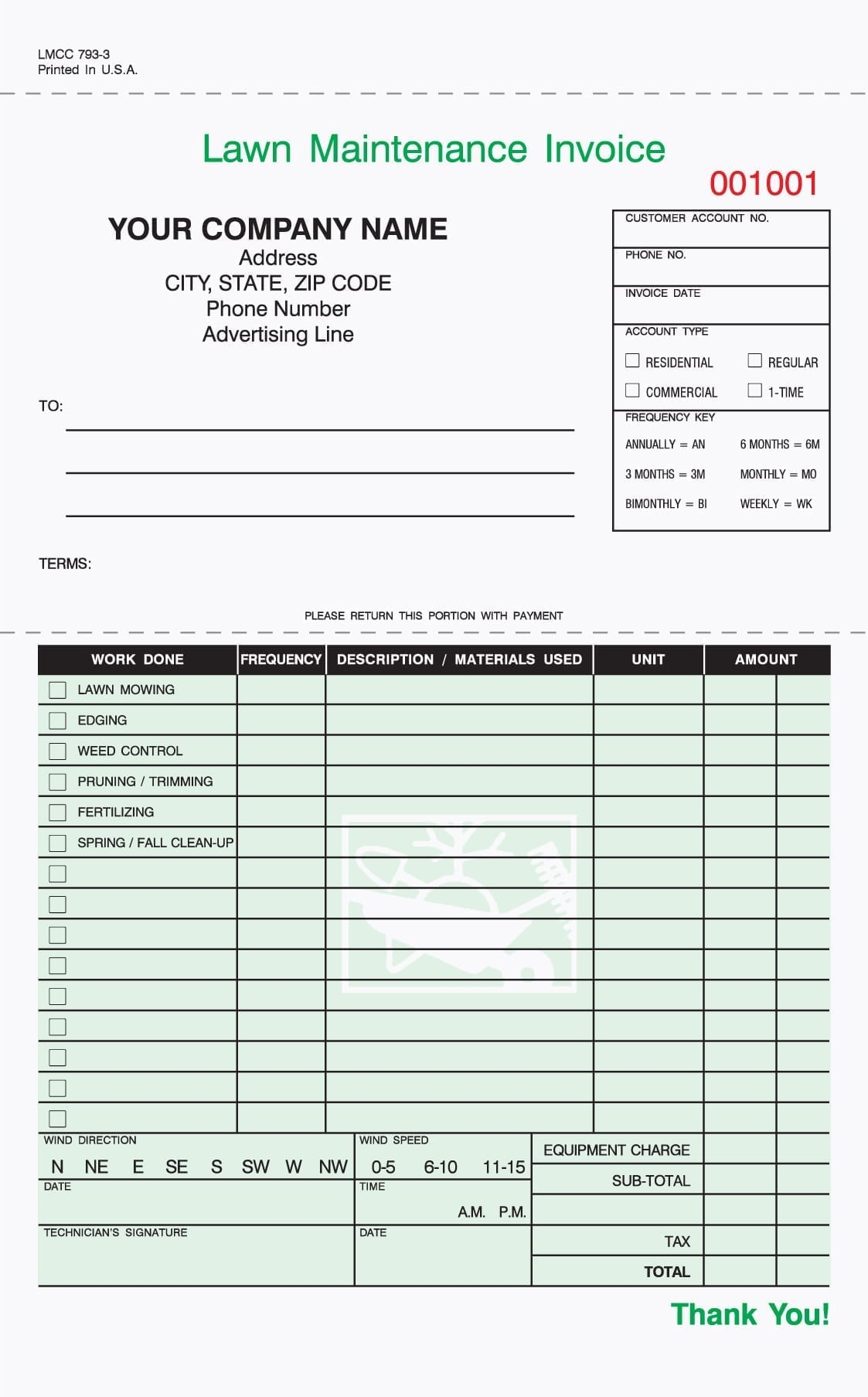 Gardening Invoice Template Sample