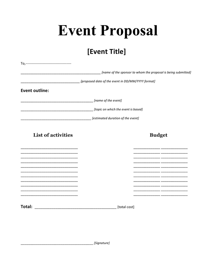Event Proposal Template Sample