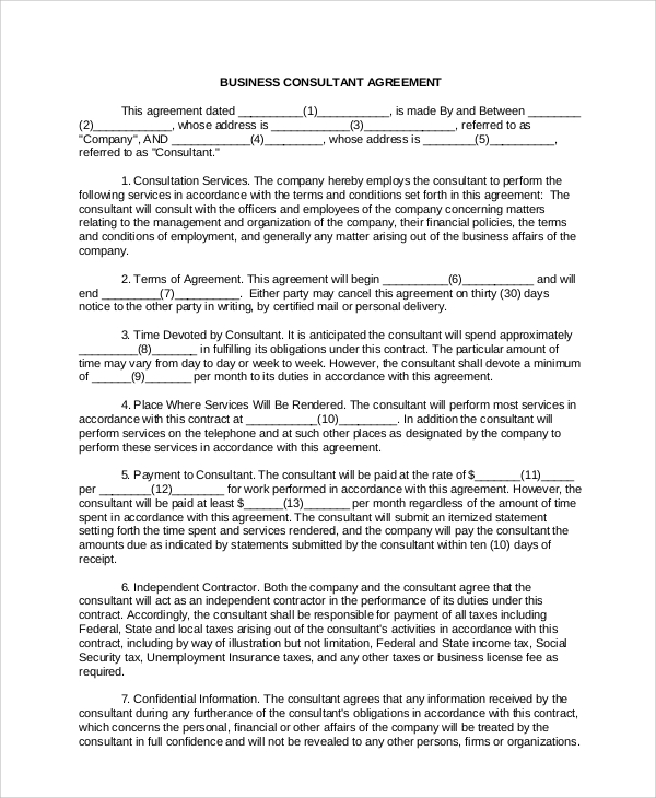 Consultant Service Agreement Template