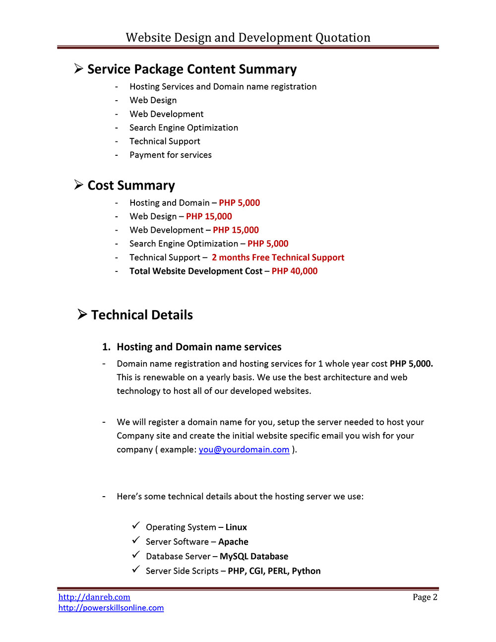 Web Development Contract Template