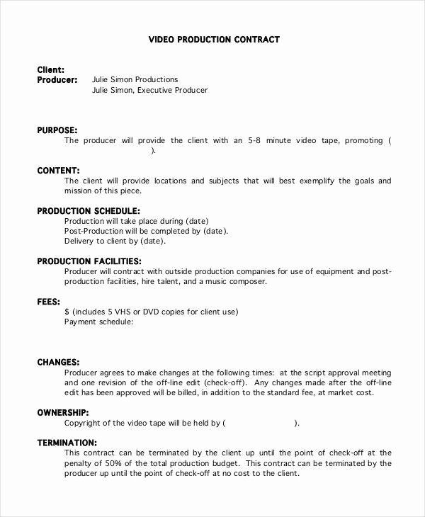 Video Production Contract Template Example