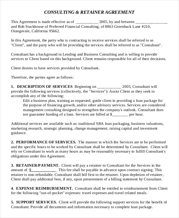 Consultant Fee Agreement Template