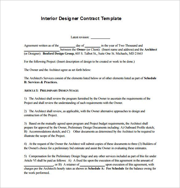 Interior Design Contract Template Example