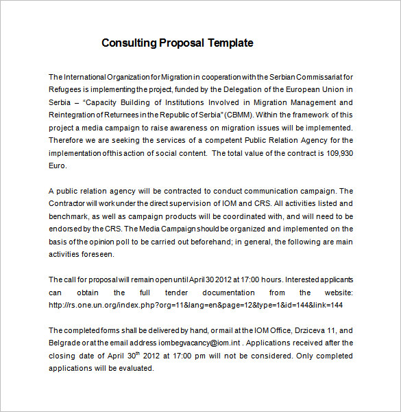 Consultant Proposal Template Google Docs