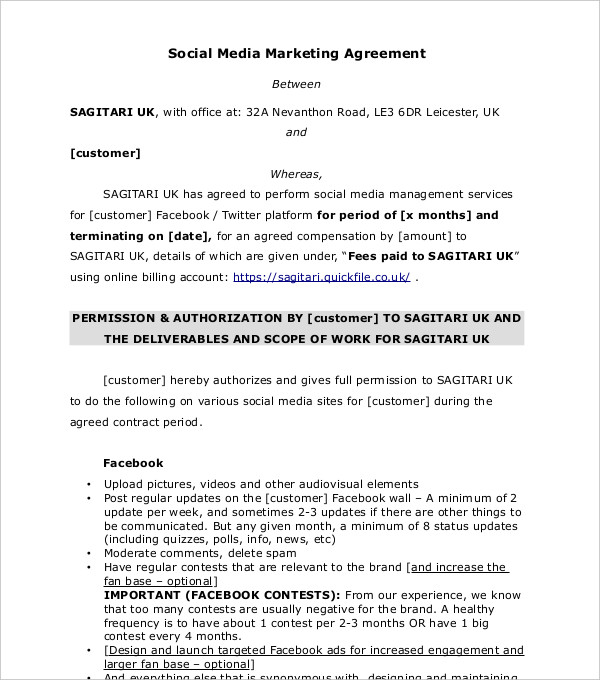 Social Media Influencer Agreement Template