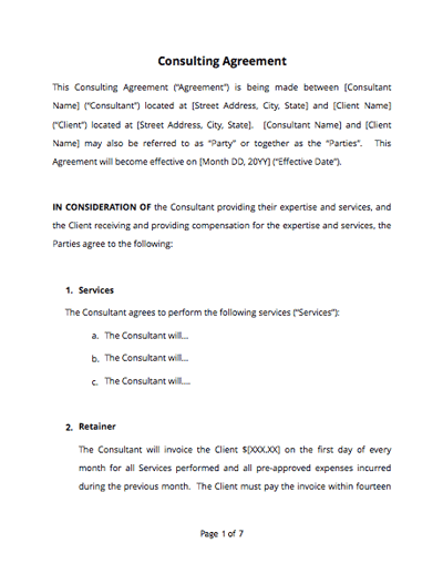 Consultant Service Agreement Template Sample