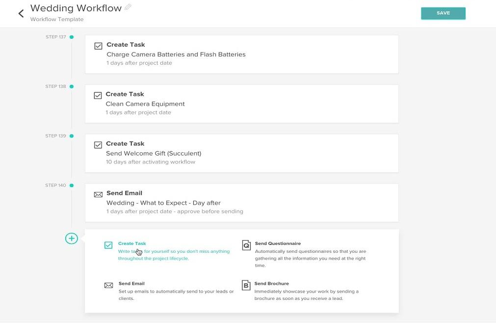 Honeybook workflow