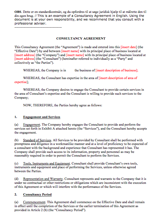 Consultant Contract Template Sample