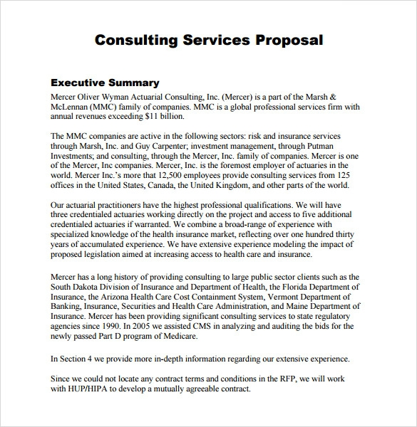 Consultant Proposal Template Sample
