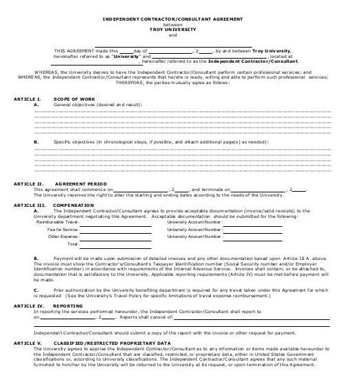 Independent Contractor Consultant Agreement Template