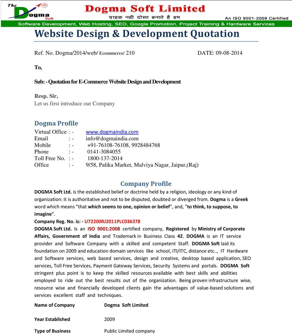 Software Development Quotation Template