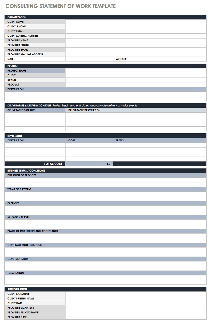 Statement of Work Contract Template Sample