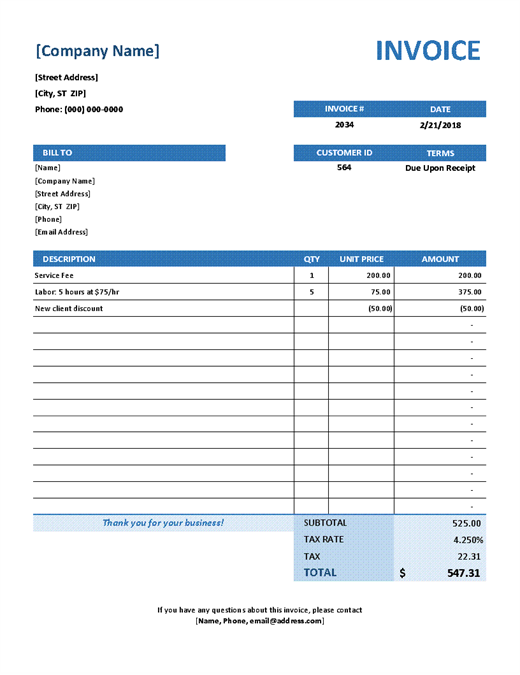 Professional Services Invoice Template Sample