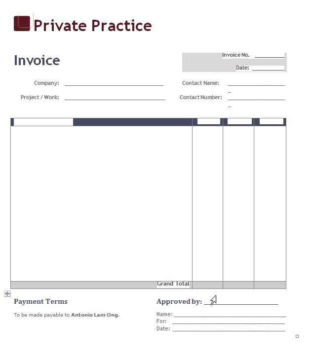 Downloadable Invoice Template Sample PDF