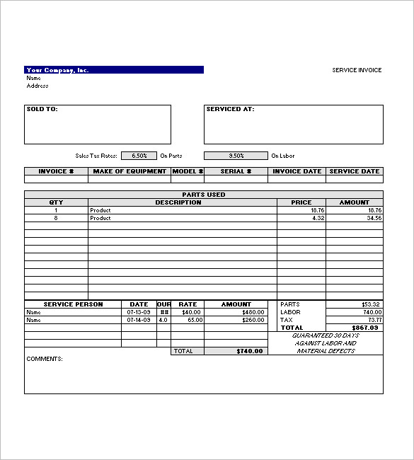 Service Invoice Template Word Excel Pdf Download Bonsai