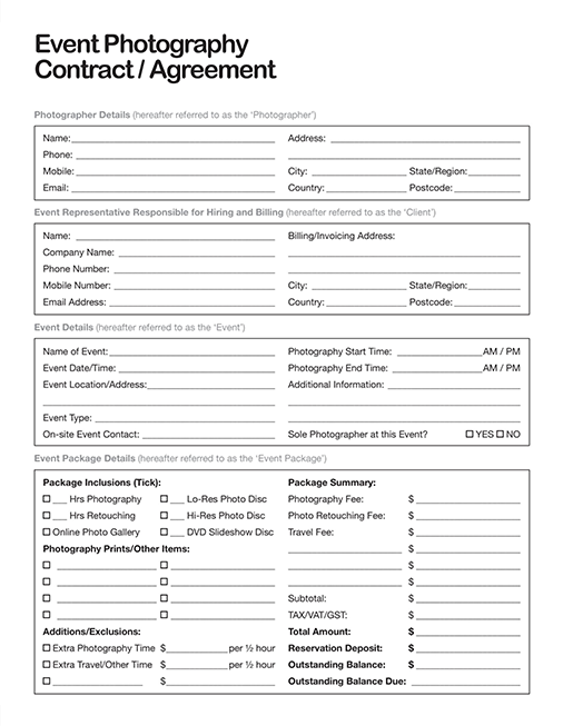 Event Photography Contract Template Sample