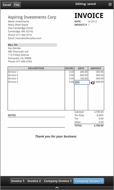 Fillable Invoice Template Example