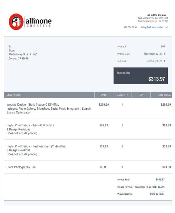 Web Design Invoice Template Example