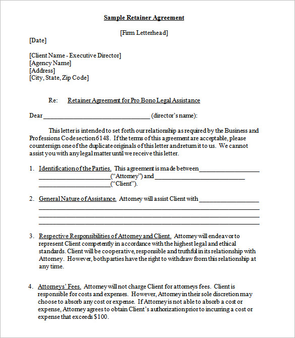 Graphic Design Retainer Contract Template Example