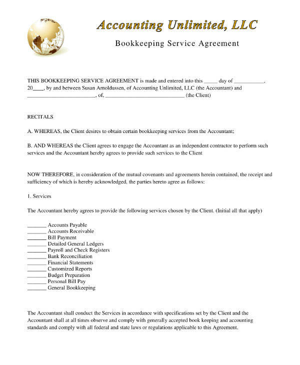 Bookkeeping Service Agreement Template Example