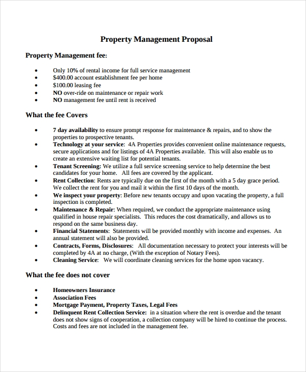 Property Management Proposal Template Sample