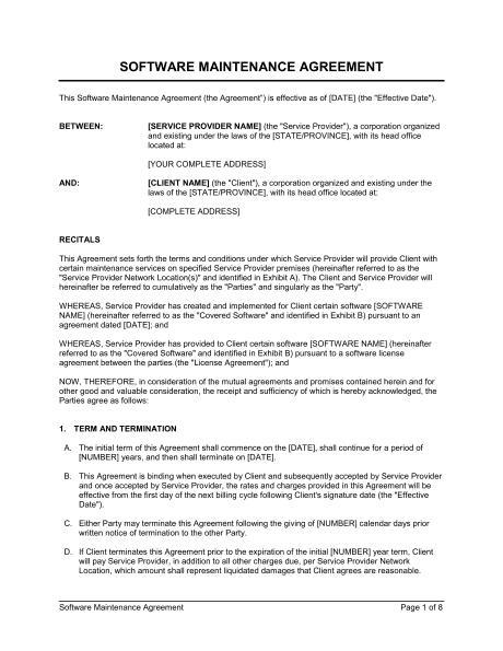 Software Maintenance Agreement Template Sample