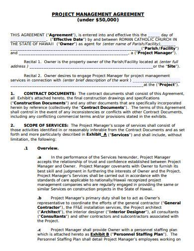 Project Management Agreement Template Sample