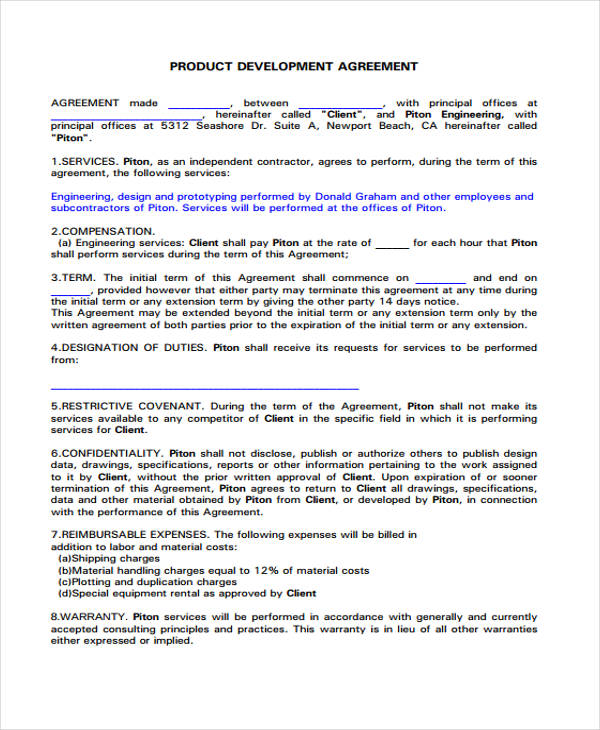 Product Development Agreement Template Sample