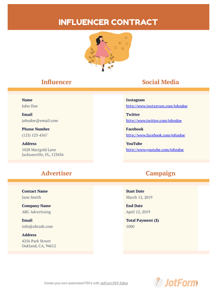 Influencer Contract Template Example PDF