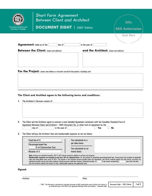Architect Contract Template Example