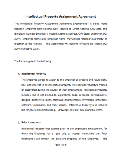 Intellectual Property Agreement Template Sample