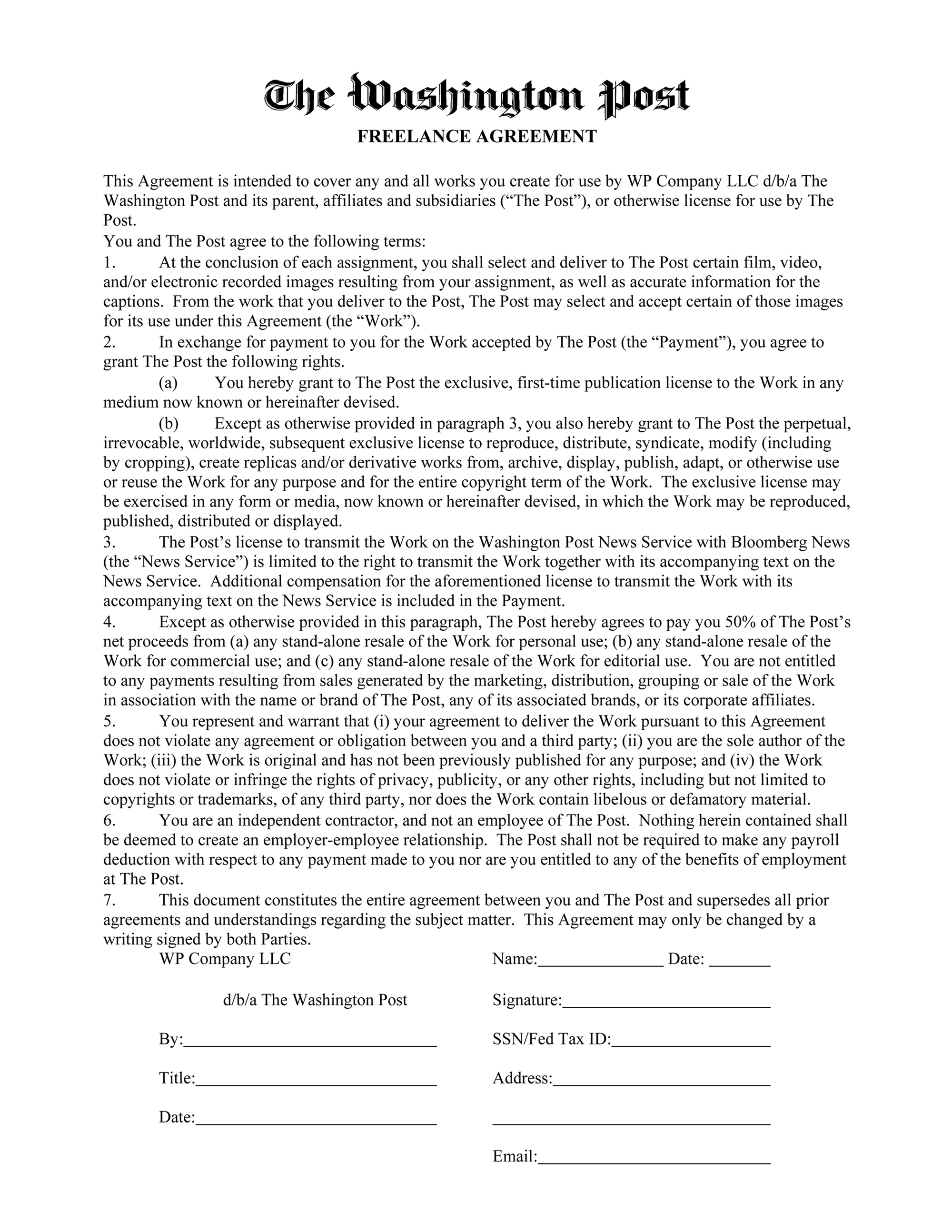 Photography Service Agreement Template Sample