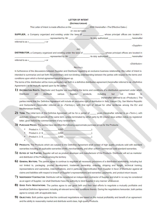 Distributor Proposal Template