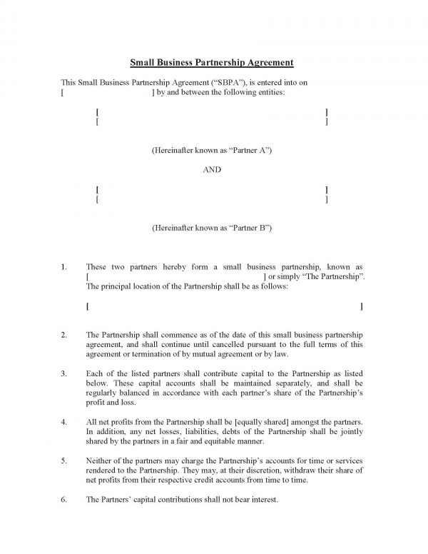 Small Business Partnership Agreement Template Sample