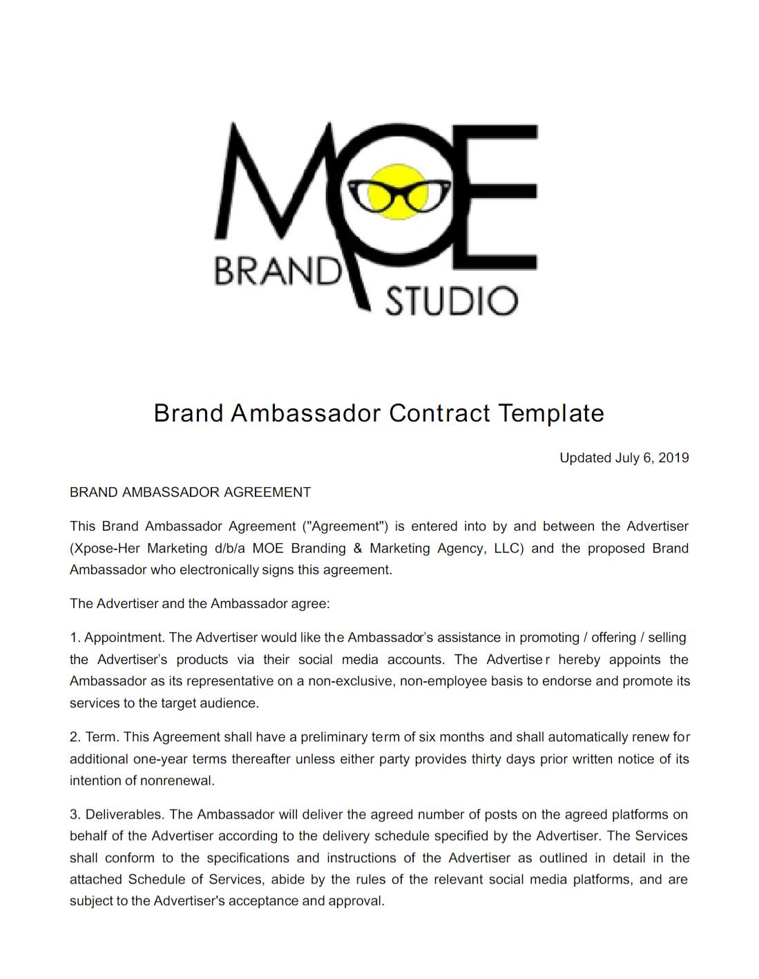 Hair Brand Ambassador Contract Template