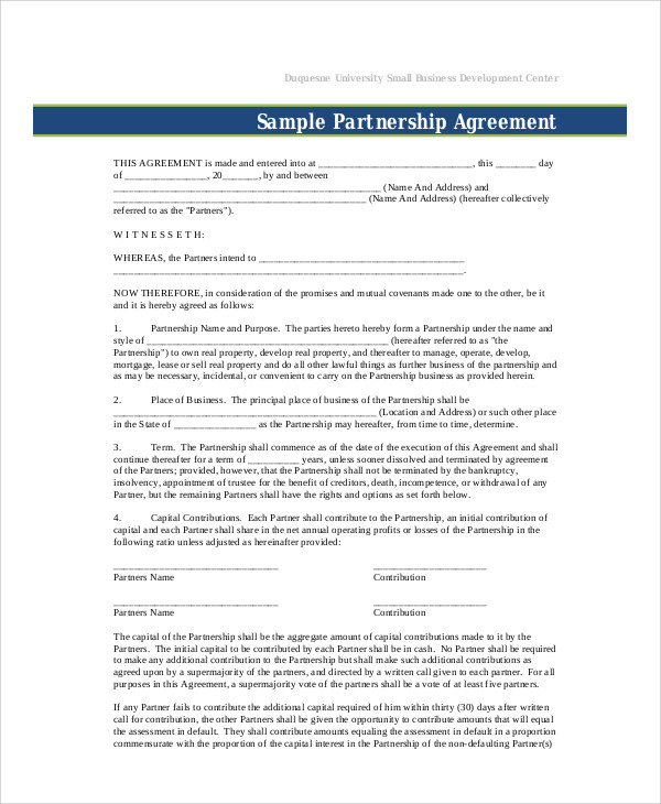 Small Business Partnership Agreement Template Example