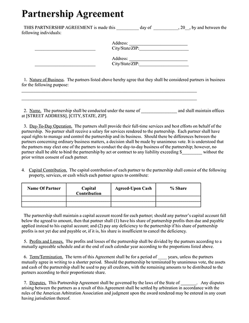 Small Business Partnership Agreement Template PDF