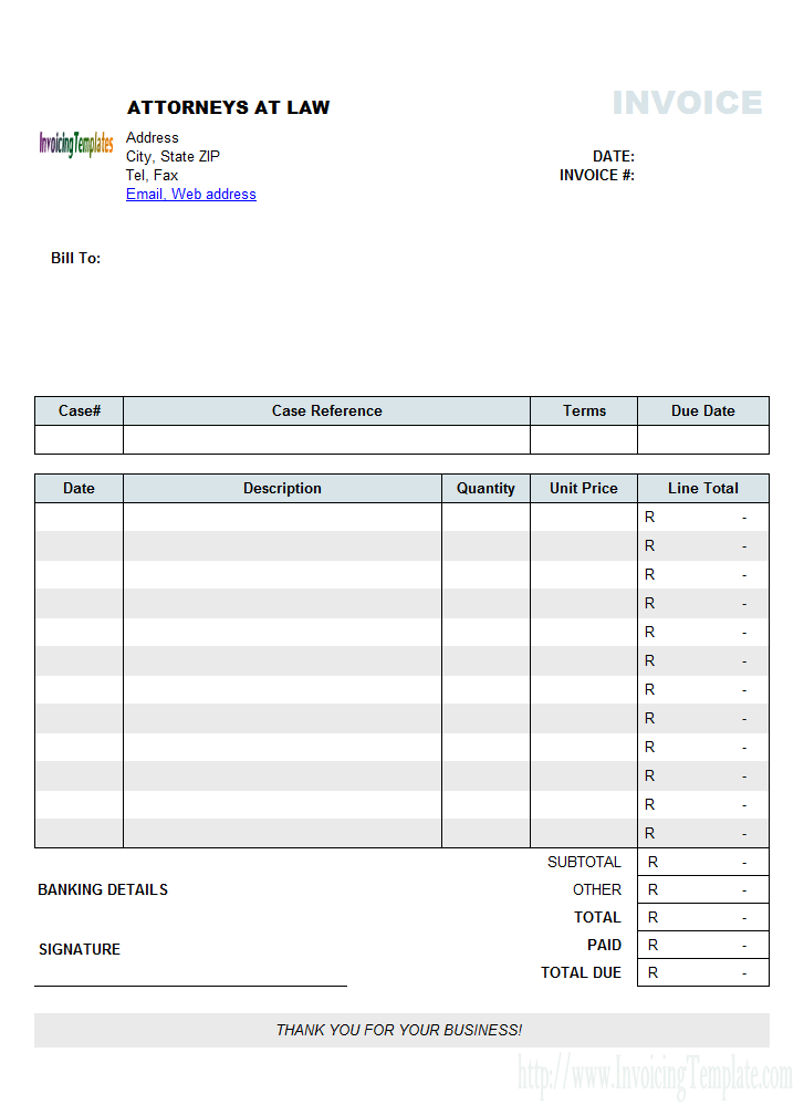 Attorney Invoice Template Sample