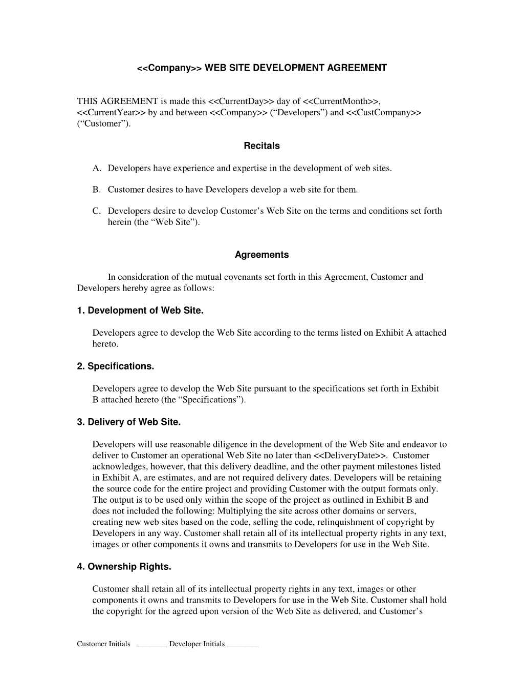 Web Design Agreement Template