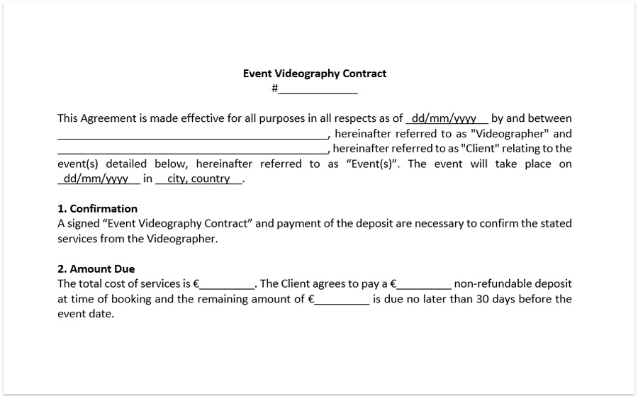 Wedding Videography Contract Template Sample