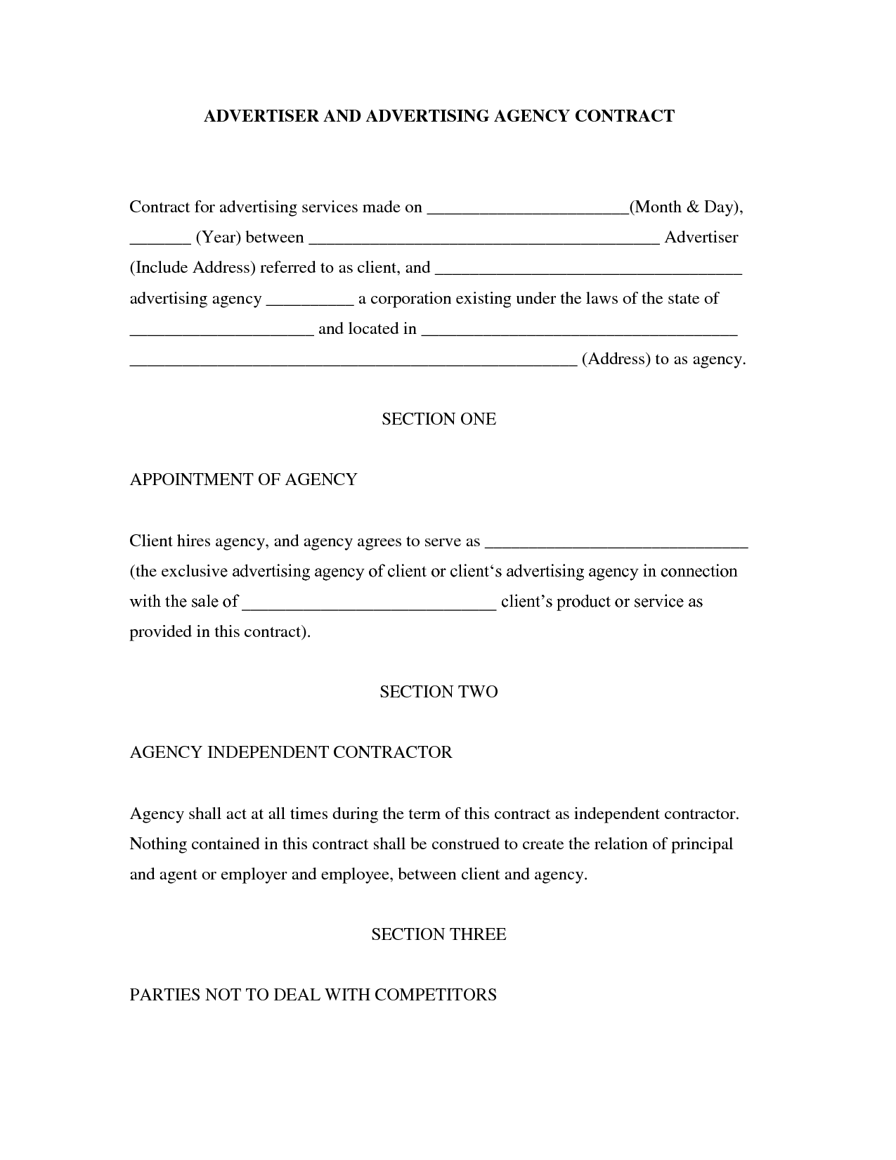 Marketing Agency Contract Template Example PDF