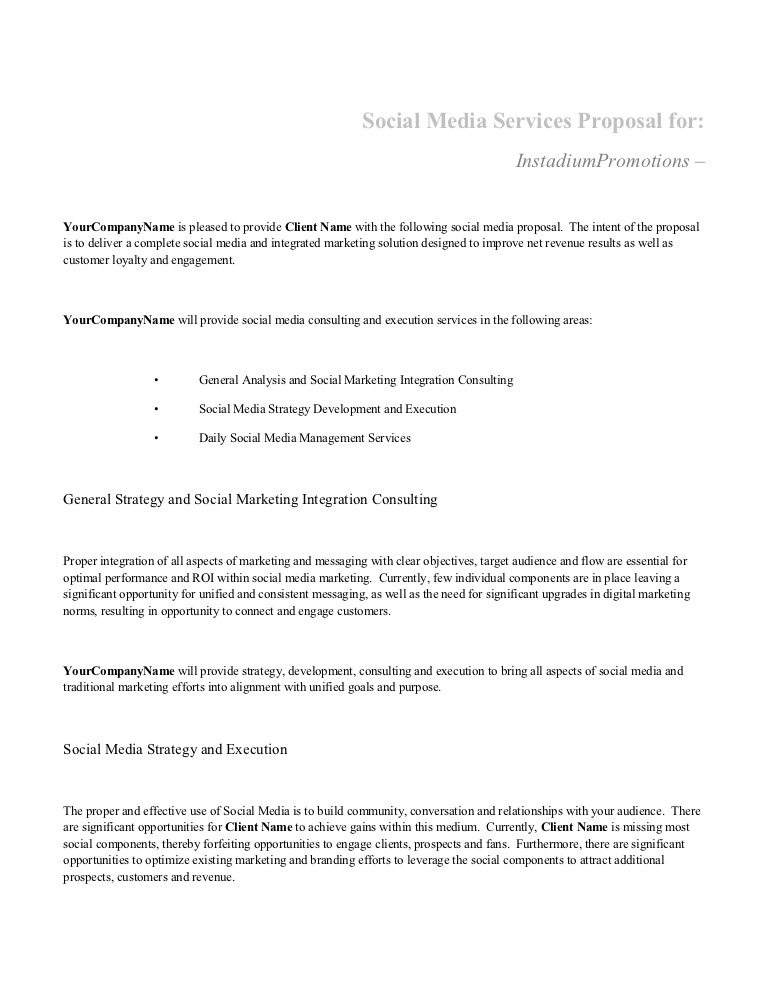 Social Media Services Proposal Template