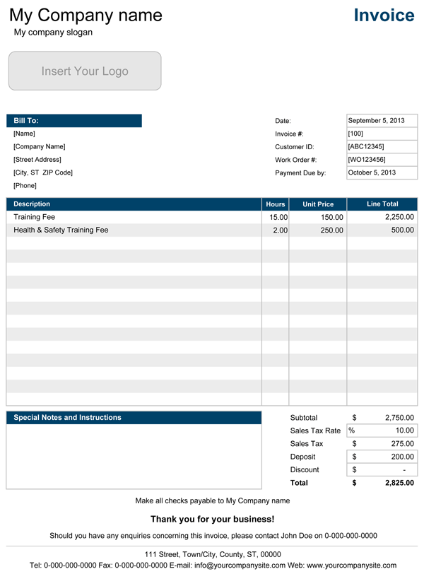 Interim Invoice Template